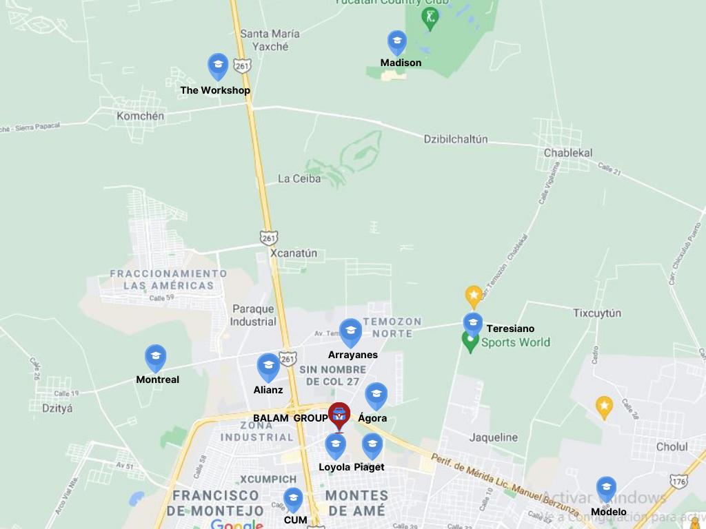 Mapa con escuelas en Mérida Norte