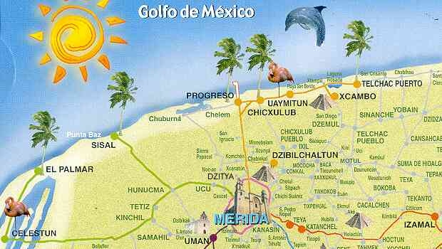 Yucatan coast map